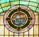 Mt Zion UMC Stained Glass Window Morgan Family Closeup Pink Flower