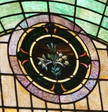 Mt Zion UMC Stained Glass Window Wallace Family Easter Lily
