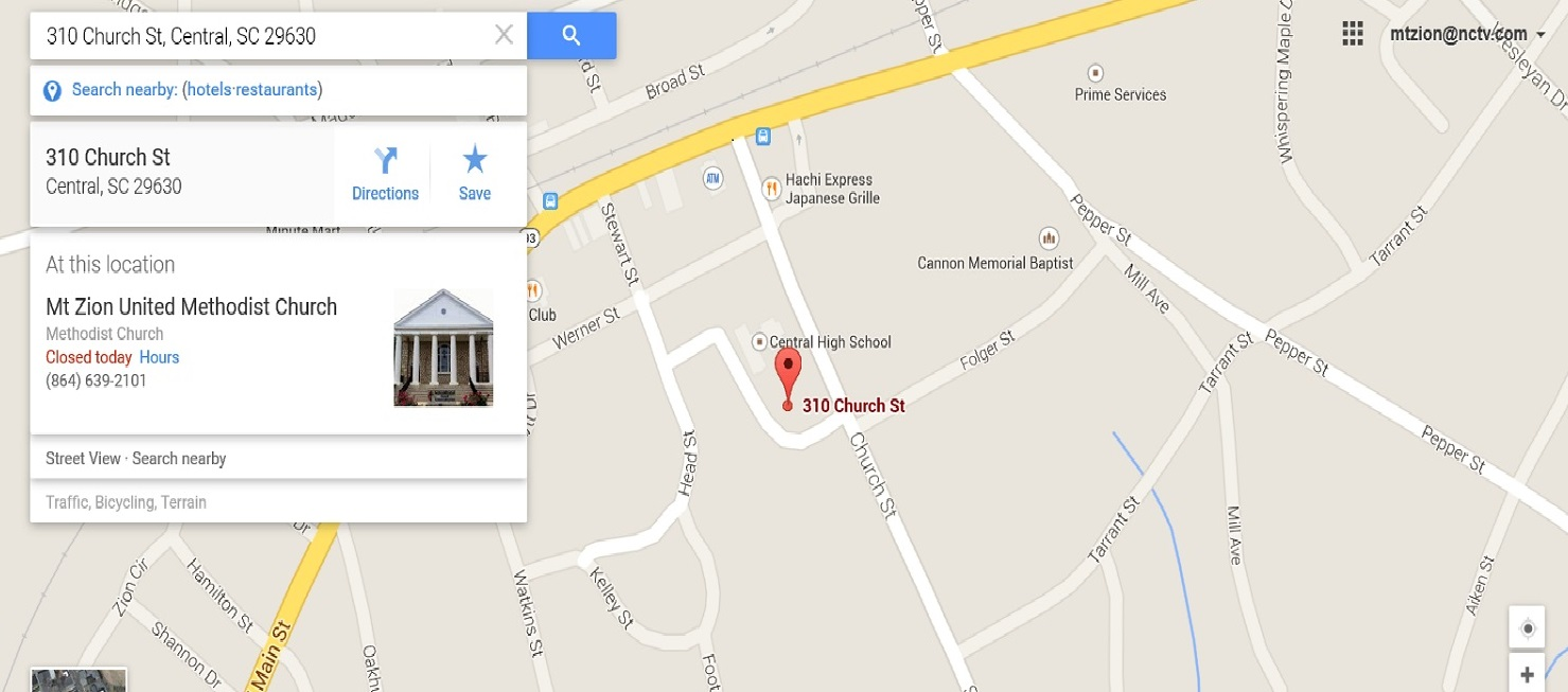Map of 310 Church St., Central, SC 29630 Courtesy of Google Maps