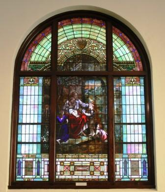 Mt Zion UMC Stained Glass Window Jesus with the Children 2