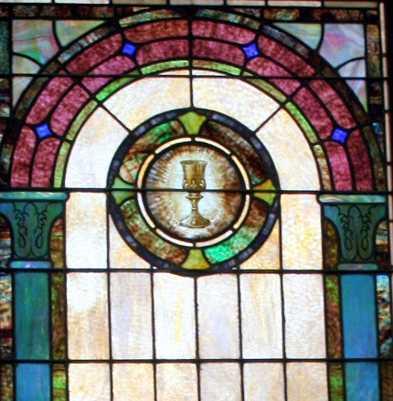 Mt Zion UMC Stained Glass Window Gassaway Family Chalice Closeup