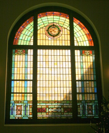 Mt Zion UMC Stained Glass Window Gassaway Sheave of Wheat