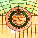 Mt Zion UMC Stained Glass Window Gassaway Sheave of Wheat Closeup