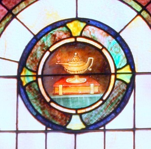 Mt Zion UMC Stained Glass Window Morgan Family Lamp Closeup